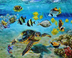 Zeeschildpad Een onderwaterzicht met tropische vissen en een zeeschildpad. Vervaardigd met lichtbestendige olieverf van hoge kwaliteit op Vlaams linnen. Vera Cauwenberghs