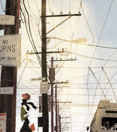 I love how carefree she is among that mess of wires.  Illustration by Irene Owens.