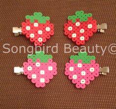 Strawberry Hair clips perler beads geekery by SongbirdBeauty $5.00  www.etsy.com/shop/songbirdbeauty