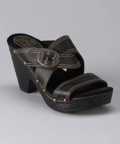 Take a look at this Black Mickey Slide by Women's Shoes Blow-Out on #zulily today!
