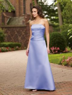 Satin Strapless Directionally Pleated Bodice A-Line Bridesmaids Dress
