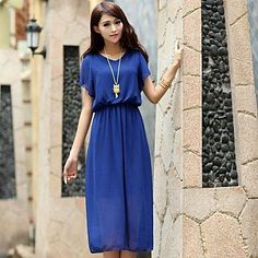 Women's Round Collar Short Sleeve Knee Length Dresses (More Colors) – USD $ 13.99