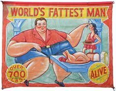 HAND PAINTED SIDE SHOW BANNER WORLD'S FATTEST MAN