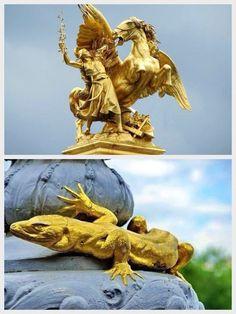 """Pont Alexandre III details, Paris, France - Top: """"Renommée des Sciences"""" (Fame of the Sciences) by Emmanuel Frémiet. Bottom: One of four salamanders."""