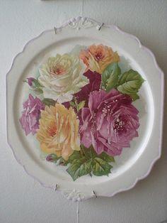 ~Vintage Rose Cabinet Plate~