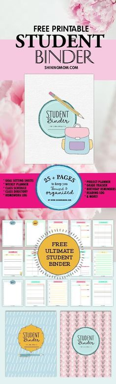 SHARE this free printable student binder to the students in your life! It's a beautiful student planner created by a teacher. Pin this now!
