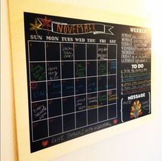 A neat way to stay organized this Thanksgiving and Holiday Season! A reusable repositionable decal ( Family Calendar Wall, Calendar Layout, Diy Calendar, Dry Erase Calendar, Calendar Design, Chalkboard Wall Calendars, Chalkboard Wall Kitchen, Memo Boards, Chalk Wall