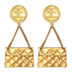 Vintage Chanel Quilted Bag Motif Earrings circa 1994