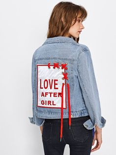 To find out about the Embroidered Patch Back Grommet Lace Up Denim Jacket at SHEIN, part of our latest Denim Jackets ready to shop online today! Cut Up Shirts, Tie Dye Shirts, Embroidered Denim Jacket, Embroidered Patch, Quilted Vest, One Direction Shirts, Elisa Cavaletti, Matching Couple Shirts, T Shirt Diy
