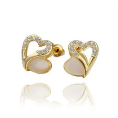 These are lovely Heart shaped 18K Gold Plated Crystal Stud Earrings. Great to wear for any occasion, but especially when you just want a casual day with a little bit of sparkle and heart. :) Available