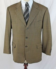 HAROLD POWELL Blazer Suit Jacket Mens size 42 R 3 Btn Ventless made in Italy #HaroldPowell #TwoButton