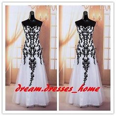 This is the dress Steph wants. New Sexy Black White Mermaid Lace Prom Party Evening Dresses Bridesmaid Dress - $89.00