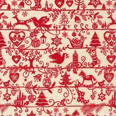 Scandi Christmas - Swedish Folk Art Stripe - Ivory 'Scandi Christmas' collection by The Henley Studio for Makower UK.