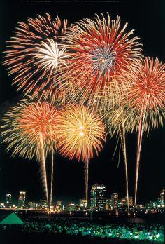 Yodogawa Fireworks Festival osaka Japan festival - Life with Alyda Fireworks Festival, 4th Of July Fireworks, Fireworks Displays, Wedding Fireworks, Fogo Gif, Fire Works, Hanabi, Osaka Japan, New Year Celebration