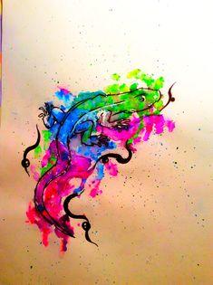 Watercolor Tattoo, Tattoos, Drawing S, Tatuajes, Tattoo, Watercolor Tattoos, Japanese Tattoos, Tattoo Illustration, Temp Tattoo