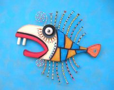 Gangster Fish V Original Found Object Wall por FigJamStudio en Etsy