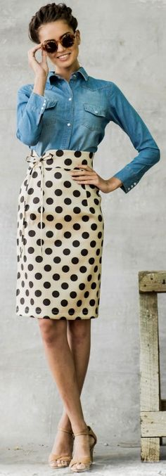 cream and brown polka dot skirt http://rstyle.me/n/ih9n9pdpe