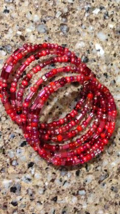 Red beaded memory wire bracelet