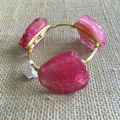 Bourbon and Boweties Hot Pink Agate Standard Wrist