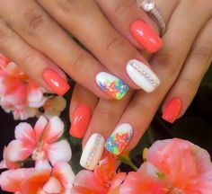Coral sparkles flowers pretty girly