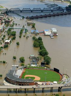 Modern Woodmen Park is untouched by the flooding Mississippi River on Thursday in Davenport. Games will go on this weekend as scheduled. (John Schultz, Quad-City Times)