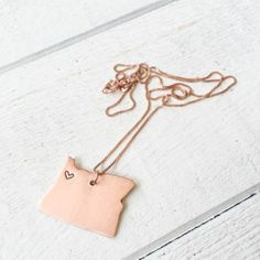 Copper Hand Stamped Oregon Love Necklace - click/tap to personalize and buy