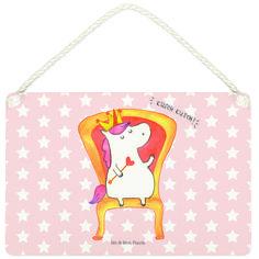 Deko Schild Einhorn König aus MDF  Weiß - Das Original von Mr. & Mrs. Panda.  Ein wunderschönes Schild aus der Manufaktur von Mr. & Mrs. Panda - die Schilder werden von uns direkt nach der Bestellung liebevoll bedruckt und mit einer wunderschönen Kordel zum Aufhängen versehen.    Über unser Motiv Einhorn König  Das süße Einhorn auf dem Thron ist genau das richtige Geschenk für die beste Freundin. Denn manchmal würden wir doch alle gerne mit einer Krone auf einem Thron sitzen und Leuten, die…