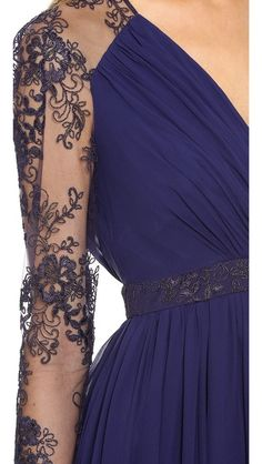 Badgley Mischka Collection Lace Sleeve V Neck Gown