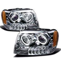 99-04 Jeep Grand Cherokee Chrome Halo Projector Headlights