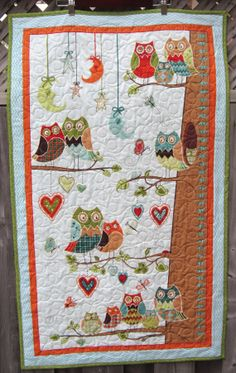 Owl Toddler Quilt  Growth Chart  Boy Baby Bedding  by diningout, $105.00 Owl Baby Quilts, Patchwork Baby, Baby Owls, Owl Patterns, Quilt Patterns, Baby Boy Bedding, Toddler Quilt, Applique Quilts, Fabric Art
