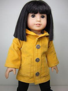 American girl doll clothes Mustard yellow   cord by JazzyDollDuds