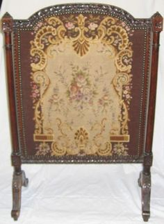 Antique Hand Embroidered Fire Screen With A Carved Wood Frame