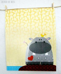 Hippo modern african nursery wall decor African by bunchofbees, - baby shower colours: yellow and grey? (maybe green too?)