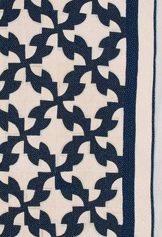 Blue & White Way of the World / Drunkard's Path Quilt