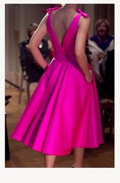 Hot pink dress by Vassilis Zoulias. Pink Party Dresses, Red Bridesmaid Dresses, Hot Pink Dresses, Formal Dresses, Old Rose Color Dress, Pinup, Cocktail Outfit, African Inspired Fashion, Chic Dress