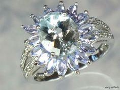 Previously Owned 10K White Gold Aquamarine Tanzanite Ring | eBay