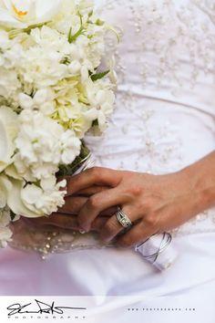 white bouquet at summer wedding