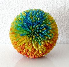 """Rainbow"" Paper Art Sculpture Dimension: about 20 cm inches) in diameter Materials: paper straws, glue, styrofoam ball Straw Sculpture, Sculpture Art, Origami, Straw Art, Straw Crafts, Arts And Crafts, Paper Crafts, Paper Glue, Paper Paper"