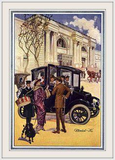 1912 Ohio Electric Car Co., Model 'L' art is by Francis Xavier Leyendecker