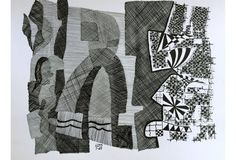 Pen Ink Abstract by Roger Stokes, 1989