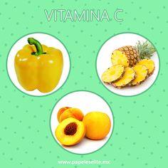 Incluye los alimentos de color amarillo en tu dieta diaria!  Nos proporcionan vitamina C y carotenoides que ayudan a retrasar el envejecimiento celular y a mantener una piel joven. Recuerda incluir alimentos como: - Durazno - Pimiento Amarillo - Guayaba - Piña