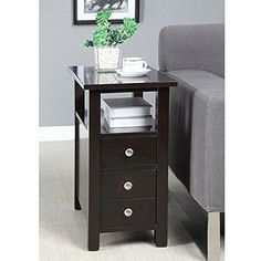 This narrow nightstand table is functional, compact wood side table provides storage and style in one narrow piece of furniture for rooms where space is tight. Accent your living room or bedroom with this ...