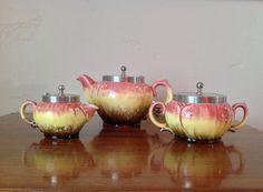 Antique Majolica Tea Set Multicolored Pink by TresconyAntiques, $175.00