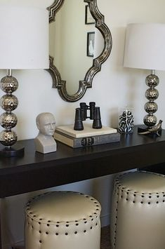Console Table Decor | Clayton Gray Home | Blog but with gold accents. & How to Decorate with Pouf Ottomans - under console table | Pillows ... islam-shia.org