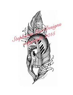 Custom Tattoo Illustration by StephanieLowDesigns on Etsy A Musician's feather tattoo design fully equipped with a piano and guitar and condenser microphone. kepeann@gmail.com https://www.facebook.com/StephanieLowDesigns
