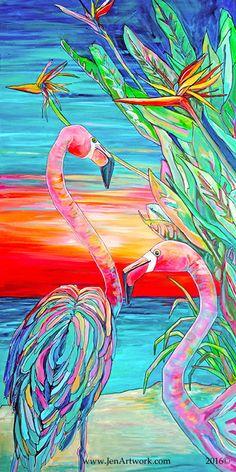Flamingo Paradise-Art by Jen Callahan by jenartwork on Etsy