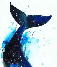 Cosmic Whale by Lora Zombie Art And Illustration, Illustrations, Art Sketches, Art Drawings, Arte Inspo, Ocean Art, Aesthetic Art, Watercolor Art, Painting Art