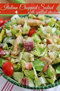 Crunchy green salad full of pasta, salami, grilled chicken, pepperoni, tomatoes and the most AMAZING dressing you ever did taste in your life!