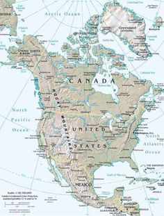 north america topographical map