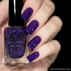 Island is a jelly violet purple holo polish with color shifting glitter Photos shown here are 3 coats with 1 coat of glossy top Purple Nail Polish, Holographic Nail Polish, Purple Nails, Nail Polish Colors, Glitter Nails, Nail Polishes, Purple Gold, Cute Nails, Pretty Nails